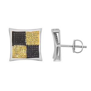 Picture of 0.50CT RD BLCK/CANARY DIAMONDS SET IN SILVER LADIES KITE EARRING