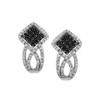 Picture of 0.60CT RD/BLCK DIAMONDS SET IN SILVER LADIES DIAMONDS EARRING