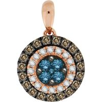 Picture of 0.60CT RD/BLUE/CHOCOLATE DIAMONDS SET IN 10KT ROSE GOLD LADIES PENDENDT