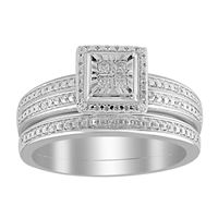 Picture of 0.10CT RD/PC DIAMONDS SET IN 10KT WHITE GOLD LADIES BRIDAL RING