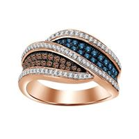 Picture of 0.75CT RD/BLU/CHOCOLATE DIAMONDS SET IN 10KT ROSE GOLD LADIES BAND