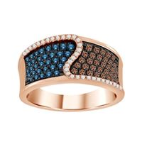 Picture of 0.75CT RD/BLUE/CHOCOLATE DIAMONDS SET IN 10KT ROSE GOLD LADIES BAND