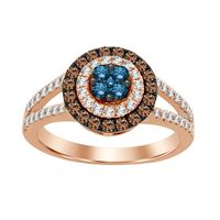 Picture of 0.75CT RD/CHOCOLATE/BLUE DIAMONDS SET IN 10KT ROSE GOLD LADIES RING