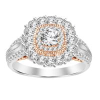 Picture of 1.25CT RD DIAMONDS SET IN 14KT TT WHITE & ROSE GOLD SEMI MOUNT LADIES RING