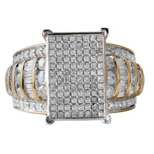 Picture of 2.00CT RD/BGT DIAMONDS SET IN 10KT TT YELLOW & WHITE GOLD LADIES RING
