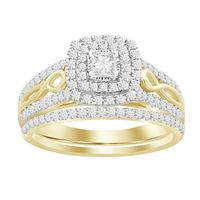 Picture of 0.75CT RD/PC DIAMONDS SET IN 10KT YELLOW GOLD LADIES BRIDAL RING