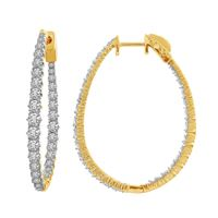 Picture of 3.00CT RD DIAMONDS SET IN 14KT YELLOW GOLD LADIES HOOP EARRING
