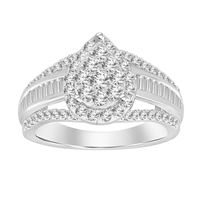 Picture of 1.00CT RD/BGT DIAMONDS SET IN 10KT WHITE GOLD LADIES RING
