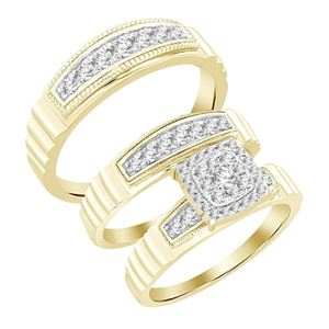 Picture of 0.75CT RD DIAMONDS SET IN 10KT YELLOW GOLD LADIES TRIO SET
