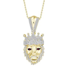 Picture of 0.60CT RD/RUPY DIAMONDS SET IN 10KT YELLOW GOLD MENS CHARM