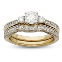 Picture of 1.25CTW 0.62CT ROUND CENTER DIAMOND SET IN 14KT YELLOW GOLD LADIES BRIDAL SET