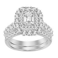 Picture of LADIES BRIDAL RING SET 2 CT ROUND/EMERALD DIAMOND 14K WHITE GOLD