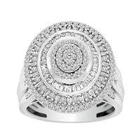 Picture of LADIES RING 1 CT ROUND/BAGUETTE DIAMOND 10K WHITE GOLD