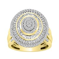 Picture of LADIES RING 1 CT ROUND/BAGUETTE DIAMOND 10K YELLOW GOLD