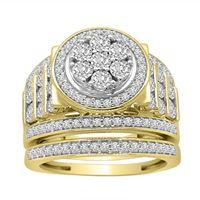 Picture of LADIES BRIDAL RING SET 1 CT ROUND DIAMOND 10K YELLOW GOLD