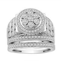 Picture of LADIES BRIDAL RING SET 1 CT ROUND DIAMOND 10K WHITE GOLD