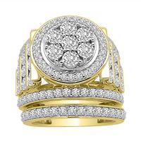 Picture of LADIES BRIDAL RING SET 2 CT ROUND DIAMOND 10K YELLOW GOLD