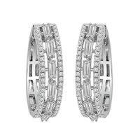 Picture of LADIES HOOPS 1 CT ROUND/BAGUETTE DIAMOND 10K WHITE GOLD