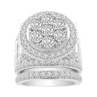 Picture of LADIES BRIDAL RING SET 3 CT ROUND DIAMOND 10K WHITE GOLD