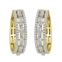 Picture of LADIES HOOPS 1 CT ROUND/BAGUETTE DIAMOND 10K YELLOW GOLD
