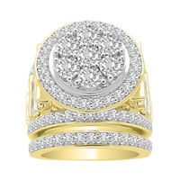 Picture of LADIES BRIDAL RING SET 3 CT ROUND DIAMOND 10K YELLOW GOLD