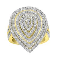 Picture of LADIES RING 2 CT ROUND/BAGUETTE DIAMOND 10K YELLOW GOLD