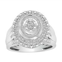 Picture of LADIES RING 1/2 CT ROUND/BAGUETTE DIAMOND 10K WHITE GOLD
