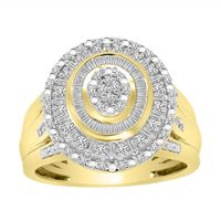 Picture of LADIES RING 1/2 CT ROUND/BAGUETTE DIAMOND 10K YELLOW GOLD