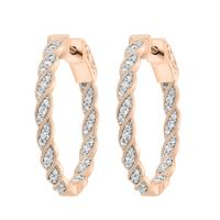 Picture of LADIES HOOPS 1/2 CT ROUND DIAMOND 10K ROSE GOLD