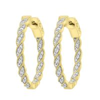 Picture of LADIES HOOPS 1/2 CT ROUND DIAMOND 10K YELLOW GOLD